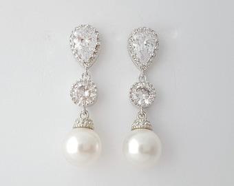 Pearl Bridal Earrings, Gold Pearl Earrings, Wedding Pearl Jewelry, Crystal Pearl Drop Earrings, Rose Gold Wedding Earrings, Rene