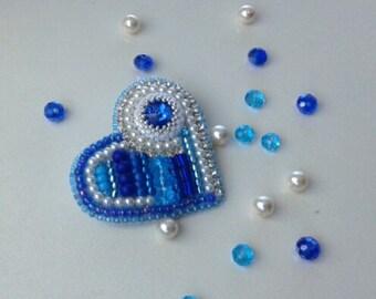 Beaded heart brooch