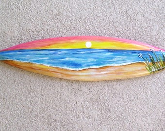 Sunset Beach Scene Surfboard Plaque Hand Painted on Reclaimed Wood