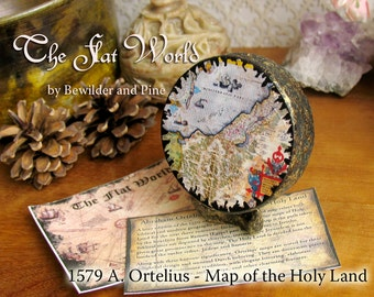 The Holy Land - Abraham Ortelius Map of 1579 - Miniature Handmade Clay Globe and Stand with Mini Map Reproduction - Matte Decoupage Finish