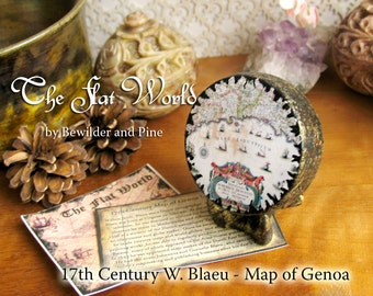 17th Century Map of Genoa by Willem Blaeu - The Flat World - Miniature Handcrafted Decorative Map Reproduction Globe