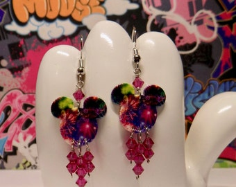 Mickey Mouse Fireworks Double Sided Print Dangle Earrings