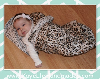 XL Receiving / Swaddle Blanket / Flannel Swaddle Blanket (Animal Print - Brown) Customizable