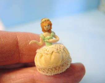 Dollhouse Miniature Pincushion Doll, Half Doll, Collectibles, Figurines