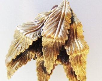 ON SALE Cute Vintage Stamped Brass Leaf Design Fur Dress Clip