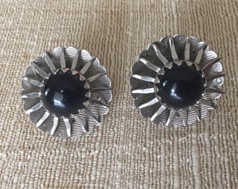 Sarah Coventry Black Beauty Silver Black Cab Clip on Earrings Estate Jewelry Collectible Jewelry Signed Earrings 1962