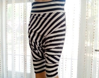 Stripe Harem Pants Upcycled clothing for women, Boho Bohemian Recycled fabric Striped pirate pants