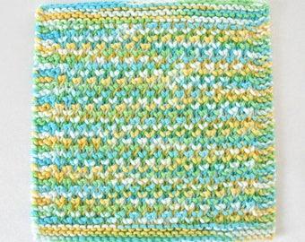 Knit Dishcloth, Cotton Dishcloth, Face Washcloth, Blue Green Yellow Kitchen decor