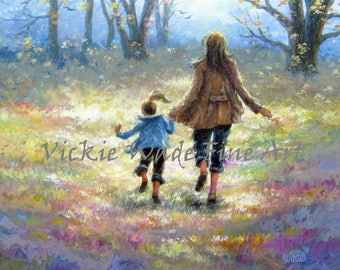 Mother and Daughter Walk Art Print, daughter, girl, mom and daughter walking, painting, art, mother's day gift art, Vickie Wade art