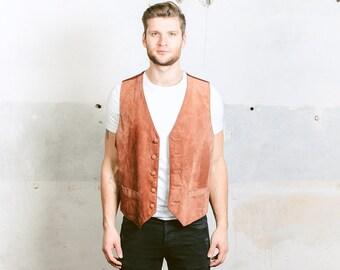 Suede LEATHER Vest . Mens Vintage Brown Waistcoat 1980s Sleeveless Jacket Cowboy Western Brown Biker Vest . size Extra Large XL