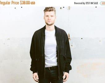WEEKEND SALE . Suede BOMBER Jacket . Men's Leather Coat Oversized Dark Brown Zip Up Flight Aviator Jacket Vintage 90s Outerwear . size Xl to
