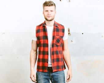 Vintage 90s Grunge Plaid Shirt . Men's Flannel Button Up Grunge Shirt Sleeveless Lumberjack Shirt Vest Hipster Shirt . size Small