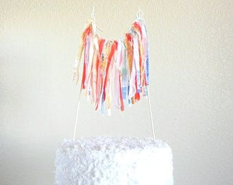 Ribbon Garland / Cake Topper / Cake Topper Birthday / Cake Topper Baby Shower / Cake Bunting / Boho Cake Topper / Birthday Cake Topper