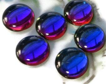 Vintage Cabochons 14mm Heliotrop Helio Cobalt Purple Round NOS RARE Silver Flat Bottom Smooth Volcano shifting color  change. 929k