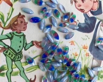 Iris Glass Stones,Vintage Moonstone Navettes,Pink Green blue NOS,Western Germany Stones,Rainbow Stones,Tiny Navettes,8x4mm navettes,#105A