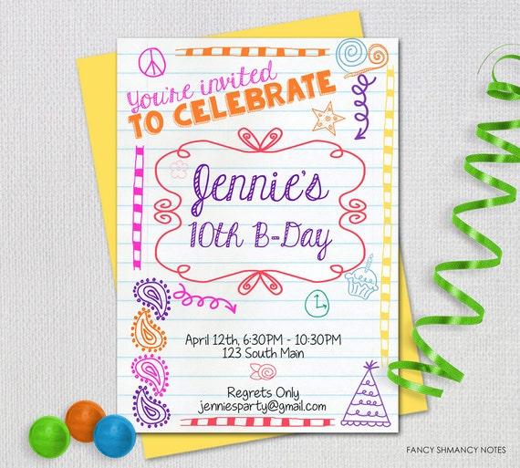 Teen Birthday Invitation Tween Party Doodled