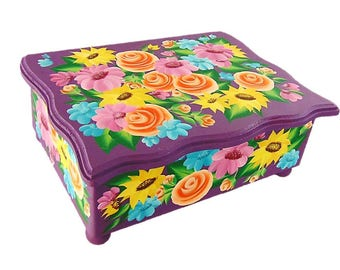 Personalized Quinceanera Card Box - Hand Painted Bright Multi-Color Flowers on Large Box - Custom Girl's Keepsake Box
