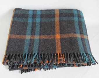 Wool Plaid Blanket Black Blue Tan 62 x 88