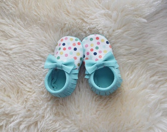 New Mint Suede Leather + Polka Dots Baby Moccs Handmade Moccasins