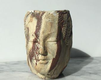 Buddha Head Cup Sculpture Small Art Teacup, Guinomi Face