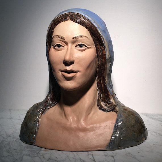 Ceramic Sculpture Portrait Bust, Mother Mary in Awe, Spiritual Art Head Of A Veiled Woman After an Old Master Painting