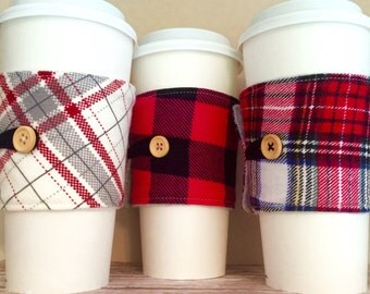Coffee Cup Cozy, Coffee Cup Sleeve, Cup Cozy, Cup Sleeve, Reusable Coffee Sleeve - Flannel Plaid Cream Red Buffalo Pink [46-48]