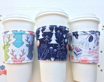 Coffee Cup Cozy, Coffee Cup Sleeve, Cup Cozy, Cup Sleeve, Reusable Coffee Sleeve - Walk in the Woods / Trail Mix  [95-97]