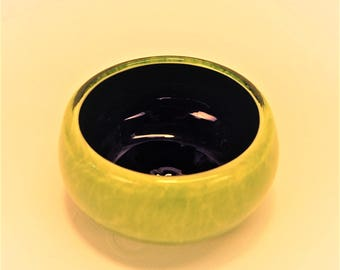 Ring Bowl in Cobalt and Lime Glass