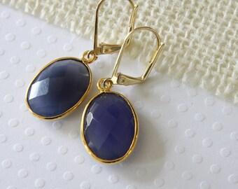 Blue Chalcedony Oval Earrings, Dangle Earrings, Real Stone Earrings, Large Stone Earrings, Blue Gemstone Earrings, Everyday Earrings