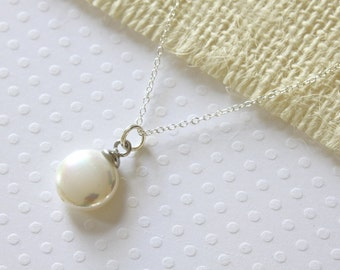 Coin Pearl Pendant - Sea Shell Pearl Pendant - Sterling Silver Necklace - Simple Necklace - Casual Necklace - Modern Necklace