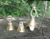 Three Small Brass Bells, Etched Design, Vintage Collection of Bells