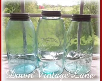 3 Blue Ball Perfect Mason HALF GALLON Jars Vintage Blue Jars with Zinc Lids