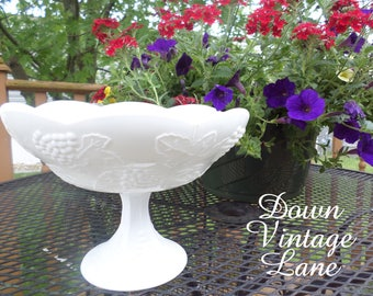 Vintage Milk Glass Grape Leaf Pattern Bowl on Stem