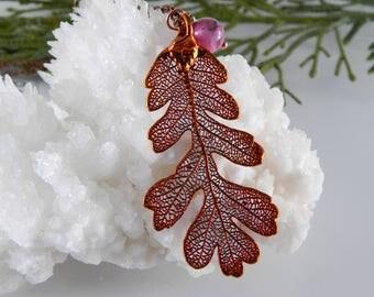 Copper Lacy Oak Leaf Pendant on 30 inch Long Chain