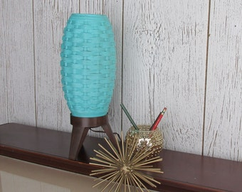 vintage turquoise lamp - beehive - Atomic -mid century modern decor