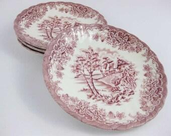 Churchill England The Brook Pink Saucers (4)