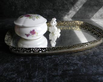 Vintage Mirror dresser Top Tray Wedding decor centerpieces Vanity tray jewelry display Hollywood retro chic wedding gift - oblong