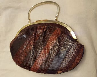 Vintage Susan Gail Snakeskin Bag, Convertible Shoulder or Clutch Purse, Brown Multi Colored Purse