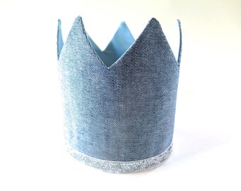 Birthday Crown for Boy - Denim Crown with Silver and Blue - Adjustable Party Hat - Dress Up King Little Prince - Light Blue