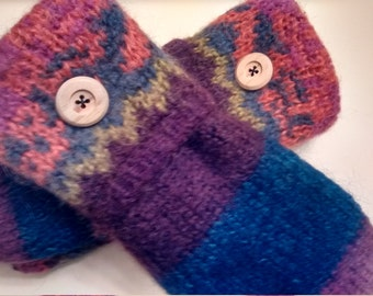 Color stripe mittens, colorful mittens, purple, pink, orange, medium mittens, recycled sweaters, women's mittens, fleece lined mittens