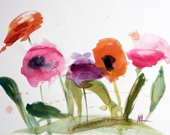 Flower Garden Original Watercolor Painting by Angela Moulton 15 x 24 inches on Paper
