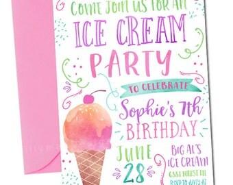 ice cream invitation | etsy, Party invitations