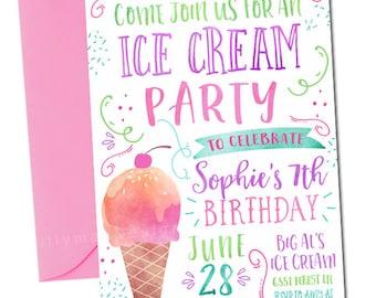 Ice Cream Party Invitation, Ice Cream Birthday Invitation, Watercolor Ice Cream Invitation, Icecream Party, Ice Cream Invitation, Digital