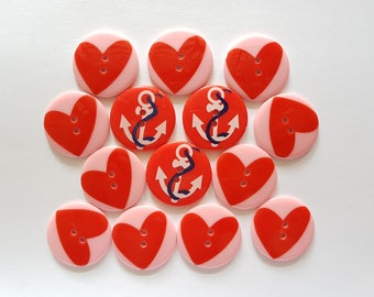 12 pcs Love Heart and Boat Anchor Graphic Printed Retro Buttons 30mm 2 Holes