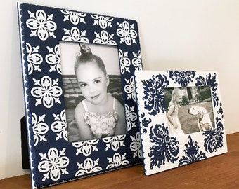 Hand Painted Picture Frame Grouping, Two Painted Frames, Custom Painted Frames, Family Photo Frames, Wedding Photo Frames, Tabletop Frames