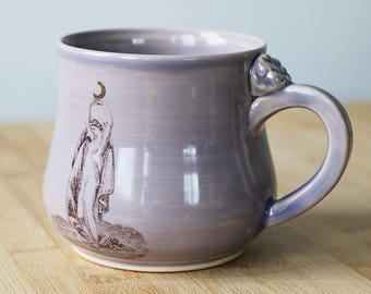 Moon Goddess Mug- in Lavender with 22k gold moon