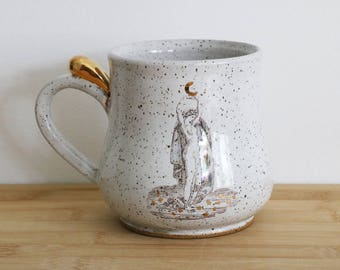 Moon Goddess Mug- in White with 22k gold (MADE TO ORDER)