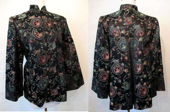 Gorgeous 1950s Designer Silk Brocade Cocktail Swing Jacket Old Hollywood glamorVintage Asian Design Jacket Size Medium