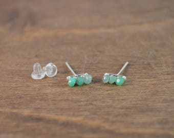 Chrysoprase Stud Earrings 925 Sterling Silver