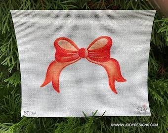 Bow Topper Needlepoint SMALL Plain Bow - Painted in your Color - Jody Designs   BT1sm